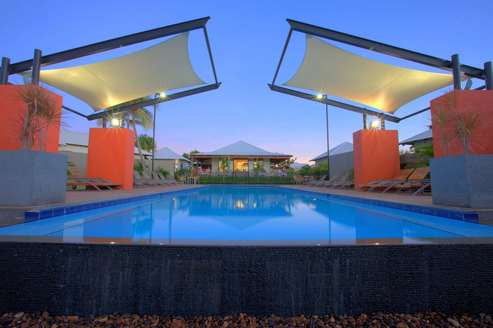 The pearle main pool dusk
